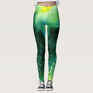Abstract watercolor landscape sun leggings