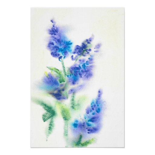 Abstract Watercolor Lilacs Poster