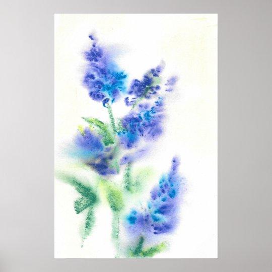 Abstract Watercolor Lilacs Poster