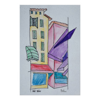Abstract Watercolor of Old Nice | Nice, France Poster