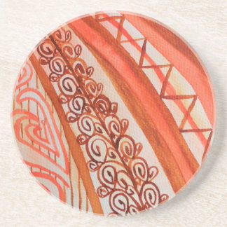 Abstract watercolor orange and brown drink coaster