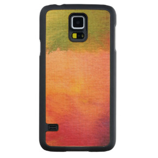 Abstract watercolor painted background carved maple galaxy s5 case