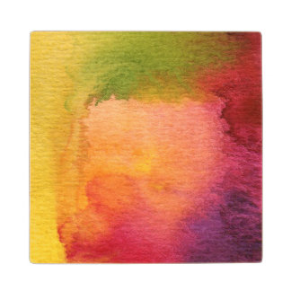 Abstract watercolor painted background maple wood coaster
