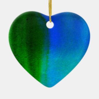 ABSTRACT WATERCOLOR PAINTING CERAMIC HEART DECORATION