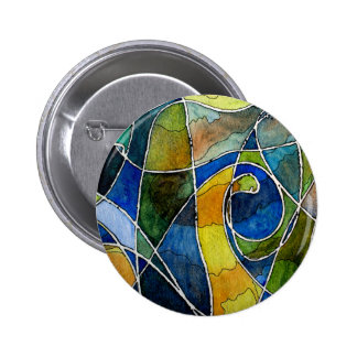 Abstract Watercolor Pen & Ink Pinback Buttons