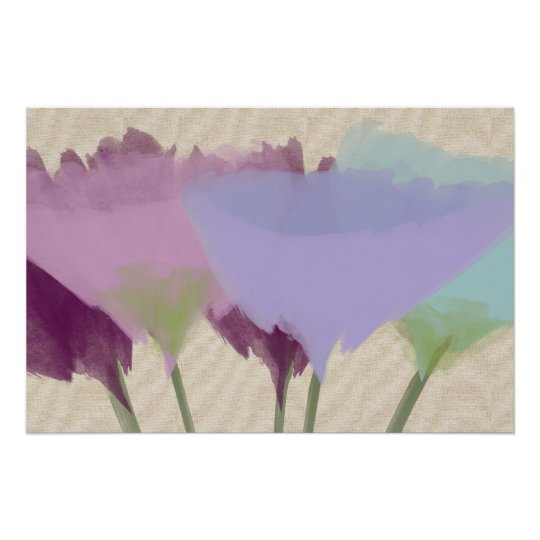 Abstract Watercolor Peonies On Canvas Art Poster