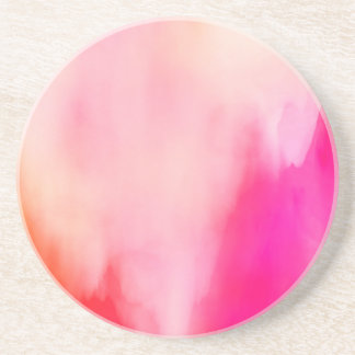 Abstract Watercolor Pink Coral Orange Colorful Coaster