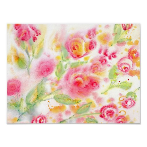 Abstract Watercolor Roses Poster