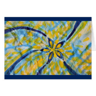 Abstract watercolor spinning star/flower greeting card