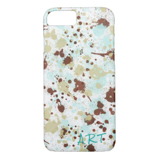 Abstract Watercolor Splatter - Monogram Design iPhone 8/7 Case