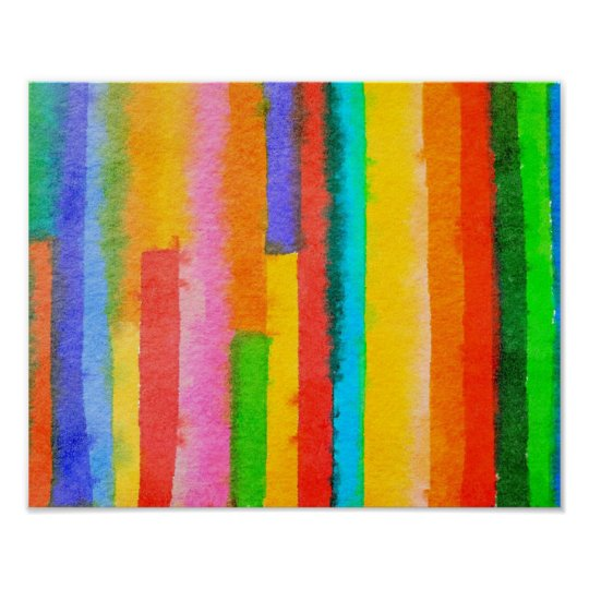 Abstract Watercolor Stripes Fine Art Painting Poster
