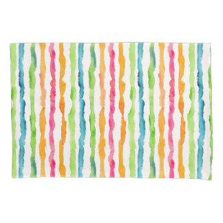 Abstract Watercolor Stripes Pillowcase