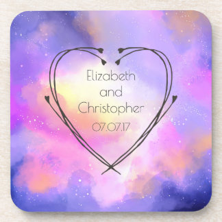 Abstract Watercolor Surreal Space Clouds Wedding Drink Coaster