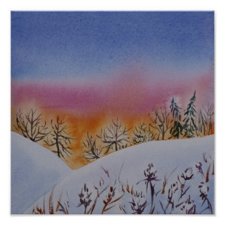 Abstract watercolor winter landscape poster