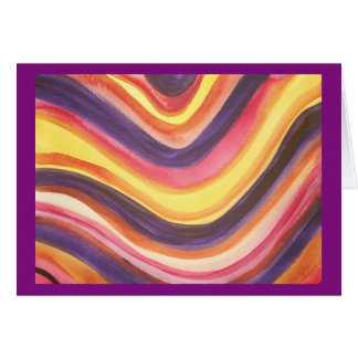 Abstract watercolor zig-zag stripes greeting card