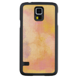 Abstract Watercolors - Orange Background Carved Maple Galaxy S5 Case