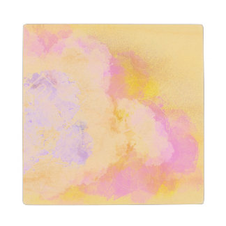 Abstract Watercolors - Orange Background Wood Coaster