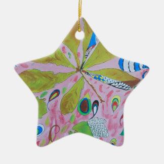 Abstract watercolour artwork ceramic star decoration