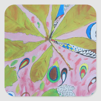 Abstract watercolour artwork square sticker