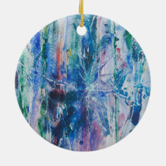 Abstract Waterfall Round Ceramic Decoration