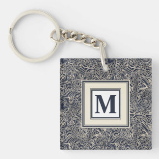 Abstract Watery Blue Waves and Swirls Pattern Key Ring