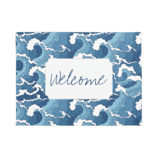 Abstract Waves | Add Your Text Doormat
