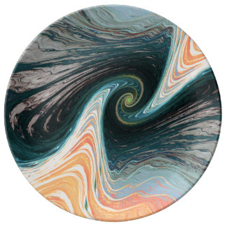 abstract waves decorative plate