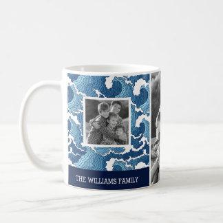 Abstract Waves | Family Photos & Text| Monogram Coffee Mug