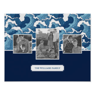Abstract Waves | Family Photos & Text| Monogram Poster