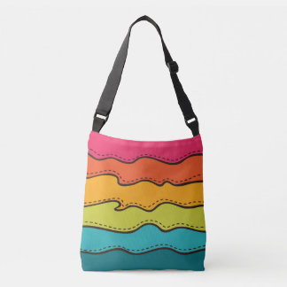 Abstract Waves Pattern Crossbody Bag
