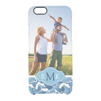 Abstract Waves   Photo & Monogram Clear iPhone 6/6S Case