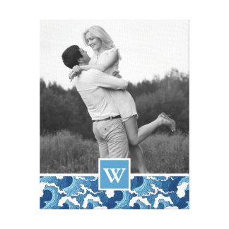 Abstract Waves | Photo with Monogram| Monogram Canvas Print