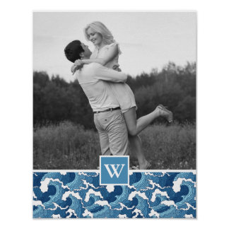 Abstract Waves | Photo with Monogram| Monogram Poster