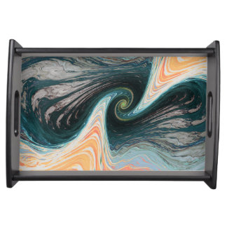 abstract waves serving tray