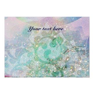 ABSTRACT WAVES ,Teal ,Blue Green Wedding 13 Cm X 18 Cm Invitation Card