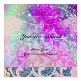 ABSTRACT WAVES Teal Blue,Purple Pink Wedding 13 Cm X 13 Cm Square Invitation Card