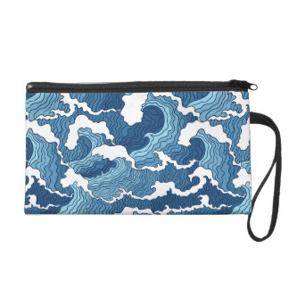 Abstract Waves Wristlet Clutches