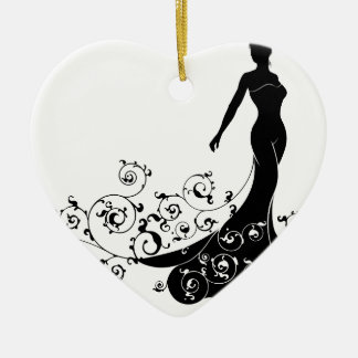 Abstract Wedding Bride Silhouette Ceramic Heart Decoration