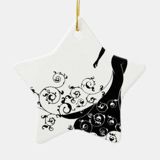 Abstract Wedding Bride Silhouette Ceramic Star Decoration