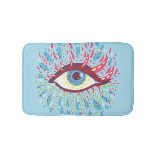 Abstract Weird Blue Psychedelic Eye Bath Mat