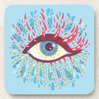 Abstract Weird Blue Psychedelic Eye Coaster