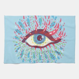 Abstract Weird Blue Psychedelic Eye Tea Towel