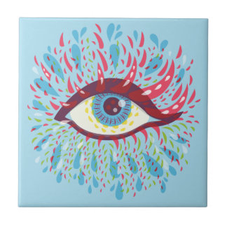 Abstract Weird Blue Psychedelic Eye Tile