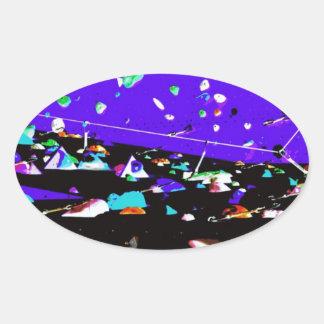 Abstract Weird Outer Space Design Oval Sticker