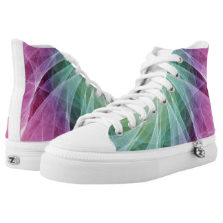 Abstract Whirlpool in Purple and Green Printed Shoes