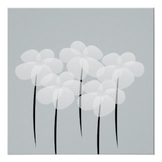 Abstract White Anemones Poster
