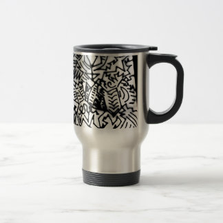 Abstract White/Black Design #1 Stainless Steel Travel Mug