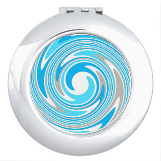 Abstract White, Blue & Grey Swirl Compact Mirror
