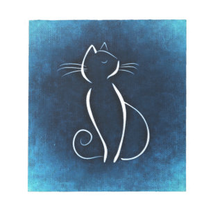 Abstract White Cat Notepad