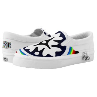 Abstract white Floral shape Slip On Shoes